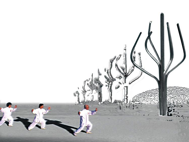 仿生世界——北京奥林匹克广场信息柱设计-建筑图